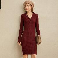 【券后预估价:185元】Amii极简法式洋气连衣裙女冬季新款V领字母绣花修身毛衣裙子