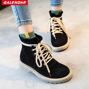 【每满100减50】Galendar女子休闲工装鞋战狼同款中高帮厚底内增高马丁靴MX1603