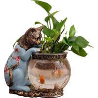 办公室鱼缸水培美式摆件玻璃桌面北欧装饰品花器乡村落地简约礼品礼物复古样板间插花客