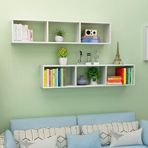 书架 简易学生卧室墙上置物收纳储物整理架子板式书柜装饰格子柜客厅储物收纳柜家具用品(颜色备注)