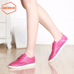 达芙妮旗下SHOEBOX/鞋柜韩版平底绑带休闲板鞋尖头简约显瘦单鞋