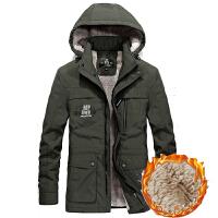 夹克男中年冬季加绒加厚保暖中年棉衣户外防风防水休闲冲锋衣外套 X