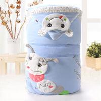 新生儿包被纯棉婴儿抱被夏季春秋冬加厚抱毯被子宝宝用品冬季抱被 天蓝色
