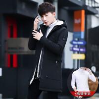 秋冬季加绒加厚外套男士中长款夹克潮流男装衣服韩版修身冬装风衣 991黑色+高领毛衣 M