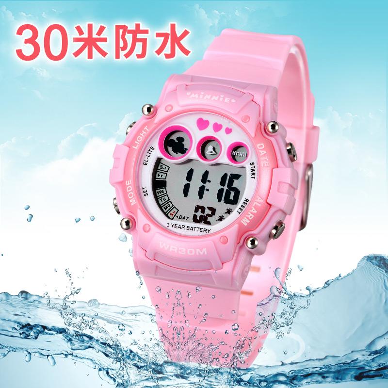迪士尼儿童电子手表女孩防水女童夜光运动可爱米奇小学生儿童手表