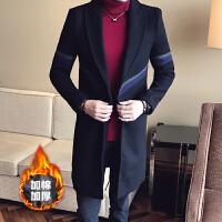 2017冬季男装韩版毛呢大衣加棉加厚呢子外套男士修身中长款风衣男