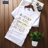 SWENEARO 男装短袖T恤 2017夏季新款英文ABC字母印花体恤衫