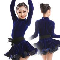 并力新款儿童拉丁舞服装长袖练功演出服套装女童跳舞摩登舞衣短裙秋冬