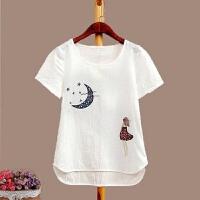 棉麻白色短袖T恤女修身上衣夏季打底衫半袖体恤绣花夏装女装韩版