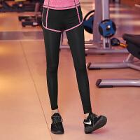 瑜伽服健身房跑步裤女瑜伽裤弹力运动紧身裤假两件春夏