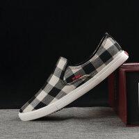 春季新款男士帆布鞋格子布鞋低帮一脚蹬懒人鞋韩版透气单鞋男鞋子