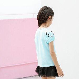 【尾品汇 5折直降】amii童装夏装2017新款儿童短袖T恤中大童棉体恤衫上衣女童t恤21742230