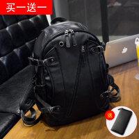 休闲双肩包男士背包韩版学生书包PU皮时尚潮流运动旅行电脑包潮 黑色