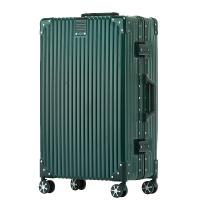 铝框拉杆箱万向轮直角行李箱女20寸旅行箱男24寸密码箱复古皮箱子 黑色 经典铝框