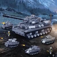 兼容乐高积木二战坦克模型男孩军事拼装益智动脑战车儿童拼插玩具