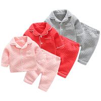 女婴儿内衣3个月男宝宝加绒打底衫睡衣套装秋冬装