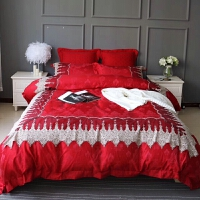 家纺红色结婚庆床上用品60支贡缎提花埃及长绒棉蕾丝花边四件套