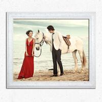 婚纱照放大全家福实木相框挂墙欧式结婚照24 30 36寸洗照片加相框