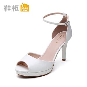 达芙妮旗下shoebox鞋柜新款潮流鱼嘴酒杯跟凉鞋 超高跟一字扣女鞋1115303106
