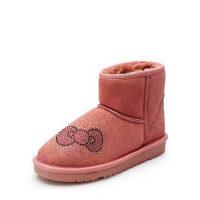 达芙妮女靴平底女短靴 HelloKitty甜美水钻保暖雪地靴1014608725