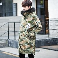 秋冬新款羽绒服男士青年中长款韩版迷彩连帽男装加厚潮流外套 绿色