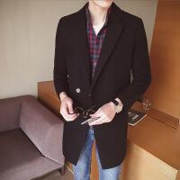 秋冬季男士风衣中长款呢子外套韩版修身毛呢大衣男装潮