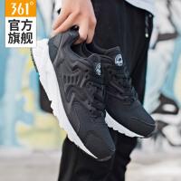 361男鞋运动鞋男子跑步鞋361度女鞋复古跑鞋黑色休闲阿甘鞋女