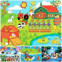 【支持礼品卡】木质24/30/40片拼图 木制卡通益智早教拼板 儿童节日礼物儿童玩具w3l