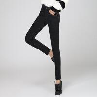 长裤加厚2017年冬季高腰加厚牛仔布舒适休闲纯色气质牛仔裤