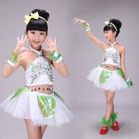 新款儿童演出服女蓬蓬裙女童公主亲亲茉莉花现代爵士舞蹈表演服装