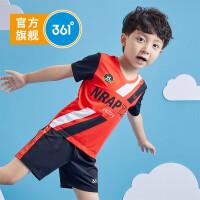 【秒杀叠券预估价:89】361度童装男童短袖套装夏季新品小童运动足球套装