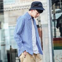 衣柜男装格子衬衫男长袖韩版宽松学生休闲衬衣青少年寸衫春装