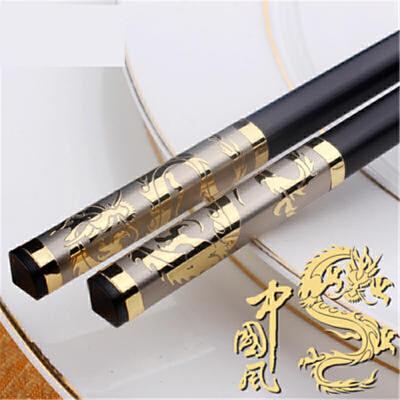 家庭酒店快子合金筷子套装10双家用防滑不锈钢实木20日式个性 h9d