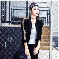 韩版金丝绒运动套装女 新款跑步运动服显瘦女装天鹅绒健身三件套潮身