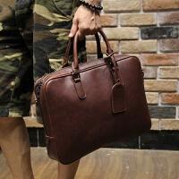 男包男士手提包包横款单肩斜挎包商务休闲公文包电脑包皮包疯马皮 咖啡色