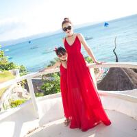 亲子装夏季2018新款母女沙滩裙长裙海边度假雪纺连衣裙