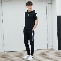 短袖t恤男士运动套装连帽夏季长裤休闲服两件套