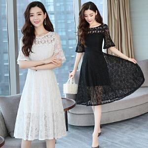 夏装新款女韩版镂空收腰荷叶袖中长款夏季蕾丝连衣裙