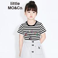 【折后价:89.7】littlemoco蓝白条纹彩色slogan刺绣纯棉T恤KA172TEE228