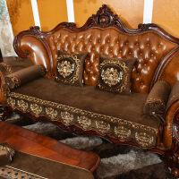 沙发垫欧式四季通用布艺防滑绣花美式真皮沙发坐垫套定做