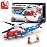 小鲁班拼装积木B0886海上救援机男女孩7-8-9-10岁益智玩具模型