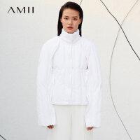 【到手价:673元】Amii极简时尚潮90白鸭绒羽绒服女2019冬新宽松立领口袋可拆袖外套