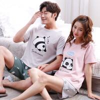 情侣睡衣女夏季韩版宽松短袖两件套装夏天男士薄款纯棉可爱家居服