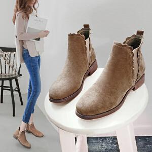 【满200减100】【毅雅】时尚休闲平底低跟短靴子舒适女鞋子靴子YM7WW7057