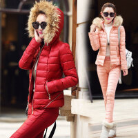 2018冬装新款冬季中长款加厚保暖棉衣棉裤两件套装9805