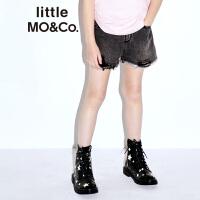 littlemoco儿童裤子女童洗烂剪边牛仔裤松紧腰休闲短款牛仔裤子