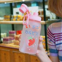 吸管杯水杯子小鱼女玻璃杯学生可爱便携吐泡泡夏天刻度韩版创意个性潮流网红杯子