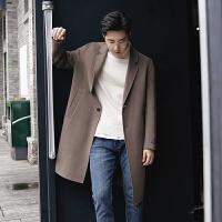 冬季呢子大衣男中长款男装毛呢大衣青年韩版修身纯色男士毛呢外套 驼色