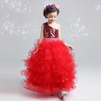 儿童公主裙礼服 红色亮片长款蛋糕蓬蓬裙夏 红色
