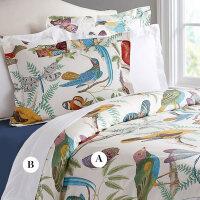 四件套棉60支田园风印花床单床笠贡缎床上用品1.8m被套